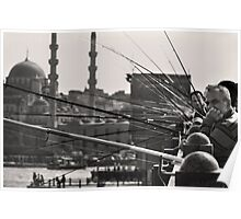 Fishing & thinking on Galata bridge Poster
