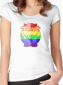 Love U Tees Funny Rainbow Animals Moo Cow LGBT Pride Week Swag, Unique Rainbow Gifts Women's Fitted Scoop T-Shirt