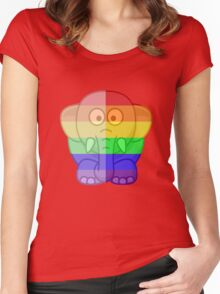 Love U Tees Funny Rainbow Animals Elephant LGBT Pride Week Swag, Unique Rainbow Gifts Women's Fitted Scoop T-Shirt