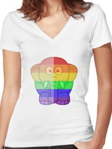 Love U Tees Funny Rainbow Animals Elephant LGBT Pride Week Swag, Unique Rainbow Gifts Women's Fitted V-Neck T-Shirt