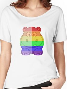 Love U Tees Funny Rainbow Animals Hippo LGBT Pride Week Swag, Unique Rainbow Gifts Women's Relaxed Fit T-Shirt