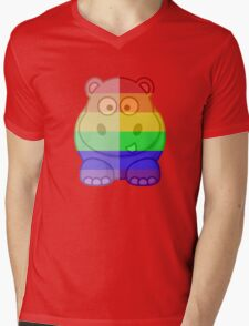 Love U Tees Funny Rainbow Animals Hippo LGBT Pride Week Swag, Unique Rainbow Gifts Mens V-Neck T-Shirt