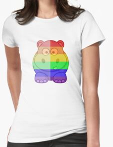 Love U Tees Funny Rainbow Animals Hippo LGBT Pride Week Swag, Unique Rainbow Gifts Womens Fitted T-Shirt