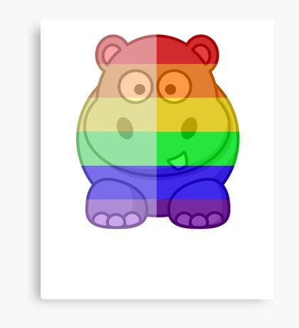 Love U Tees Funny Rainbow Animals Hippo LGBT Pride Week Swag, Unique Rainbow Gifts Canvas Print