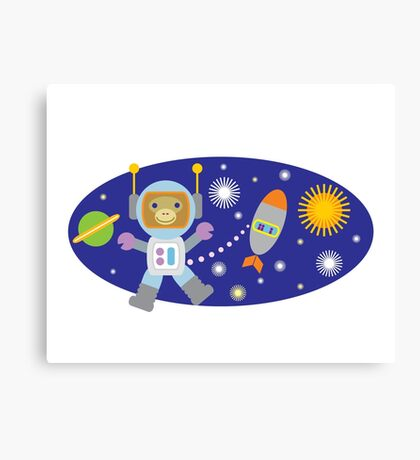Space Chimp Cartoon Monkey Astronaut Canvas Print