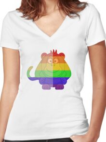 Love U Tees Funny Rainbow Animals monkey LGBT Pride Week Swag, Unique Rainbow Gifts Women's Fitted V-Neck T-Shirt