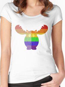 Love U Tees Funny Rainbow Animals Moose LGBT Pride Week Swag, Unique Rainbow Gifts Women's Fitted Scoop T-Shirt