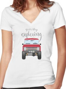 Never Stop Exploring (red) Women's Fitted V-Neck T-Shirt