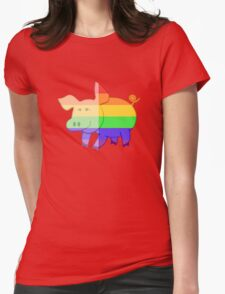 Love U Tees Funny Rainbow Animals Pig LGBT Pride Week Swag, Unique Rainbow Gifts Womens Fitted T-Shirt