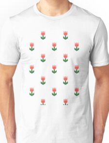 Red And Green Spring Tulip Flowers Unisex T-Shirt