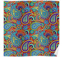 Warm Colors Colorful Retro paisley Pattern Poster
