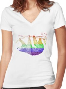 Love U Tees Funny Rainbow Animals Sloth LGBT Pride Week Swag, Unique Rainbow Gifts Women's Fitted V-Neck T-Shirt
