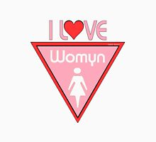 I Heart Womyn Pride Triangle Womens Fitted T-Shirt