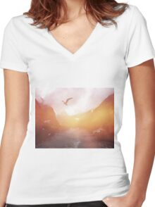 Landscape 04 Women's Fitted V-Neck T-Shirt