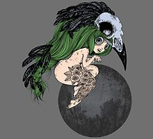Lady Crow - green hair by milenaemme