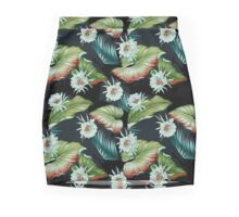 White Hawaiian Blossoms and Tropical Leaves Mini Skirt