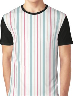 Blue Coral Yellow Gray Pin Stripes Graphic T-Shirt