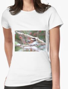 Chickadee in the Snow Womens Fitted T-Shirt