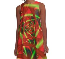 Red and Green Neural Network A-Line Dress