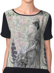 Victorian Floral Woman Lavender Pink Flowers Chiffon Top