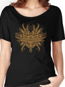 Facing Quetzalcoatl, the feathered snake on orange Women's Relaxed Fit T-Shirt
