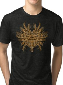 Facing Quetzalcoatl, the feathered snake on orange Tri-blend T-Shirt