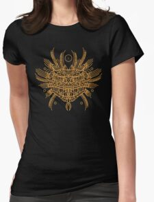 Facing Quetzalcoatl, the feathered snake on orange Womens Fitted T-Shirt