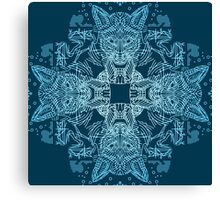 Fox hunting in the snow on blue Canvas Print