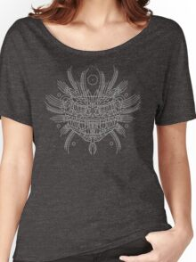 Facing Quetzalcoatl, the feathered snake on gray Women's Relaxed Fit T-Shirt