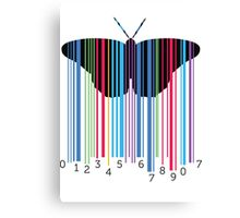 Butterfly with codebars and numbers Canvas Print