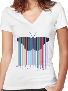Butterfly with codebars and numbers Women's Fitted V-Neck T-Shirt