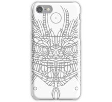 Facing Quetzalcoatl, the feathered snake on gray iPhone Case/Skin