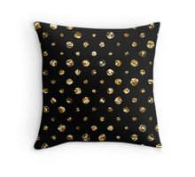 Gold polka dot on black - pattern Throw Pillow