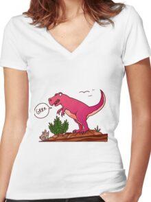 Dinomite Women's Fitted V-Neck T-Shirt