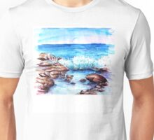 Watercolour waves on the rocks Unisex T-Shirt