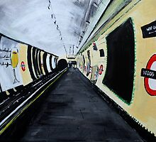 London Underground Wood Green Piccadilly Line Tube Station Acrylic Painting by JamesPeart