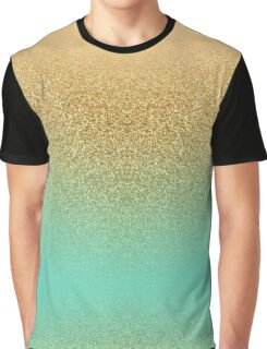 Gold Glitter Aqua Gradient Graphic T-Shirt