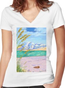 Beach Day Women's Fitted V-Neck T-Shirt