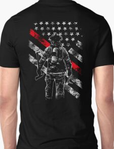 Firefighter Exclusive Thin Red Line, American Flag T-Shirt Unisex T-Shirt