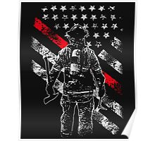 Firefighter Exclusive Thin Red Line, American Flag T-Shirt Poster