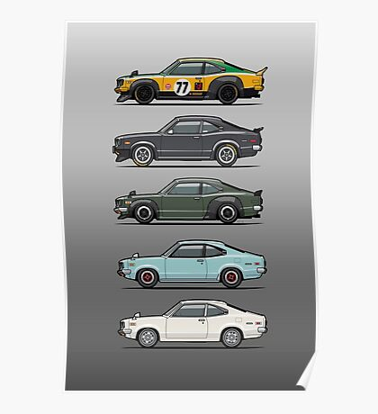 Stack of Mazda Savanna GT RX-3 Coupes Poster