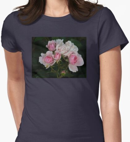Cluster of Mini Pink and White Roses Womens Fitted T-Shirt