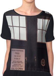 Travel in time through the TARDIS Doors.... Chiffon Top