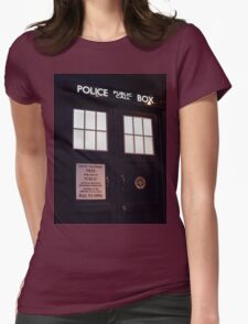Travel in time through the TARDIS Doors.... Womens Fitted T-Shirt