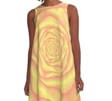 Yellow and Pink Spiral Rose A-Line Dress