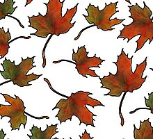 Maple Leaves in Autumn, Random Pattern, Hand-Drawn Art by Joyce Geleynse