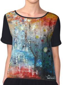Acrylic autumn forest reflections Chiffon Top
