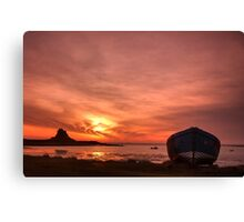 Day Breaks at Holy Island Canvas Print