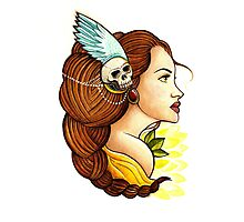 Tattoo Gypsy & Nature with skull headpiece Photographic Print