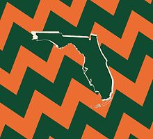 University of Miami- Chevron/State Silhouette by katielswi